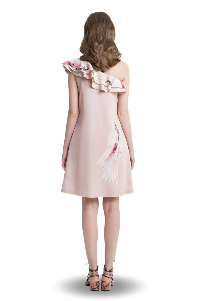 Powder pink A-line one shoulder ruffle above knee dress