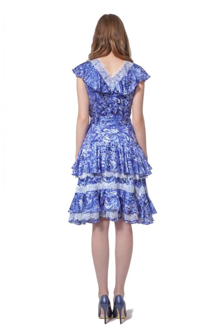 Blue silk dress with flounces and belt