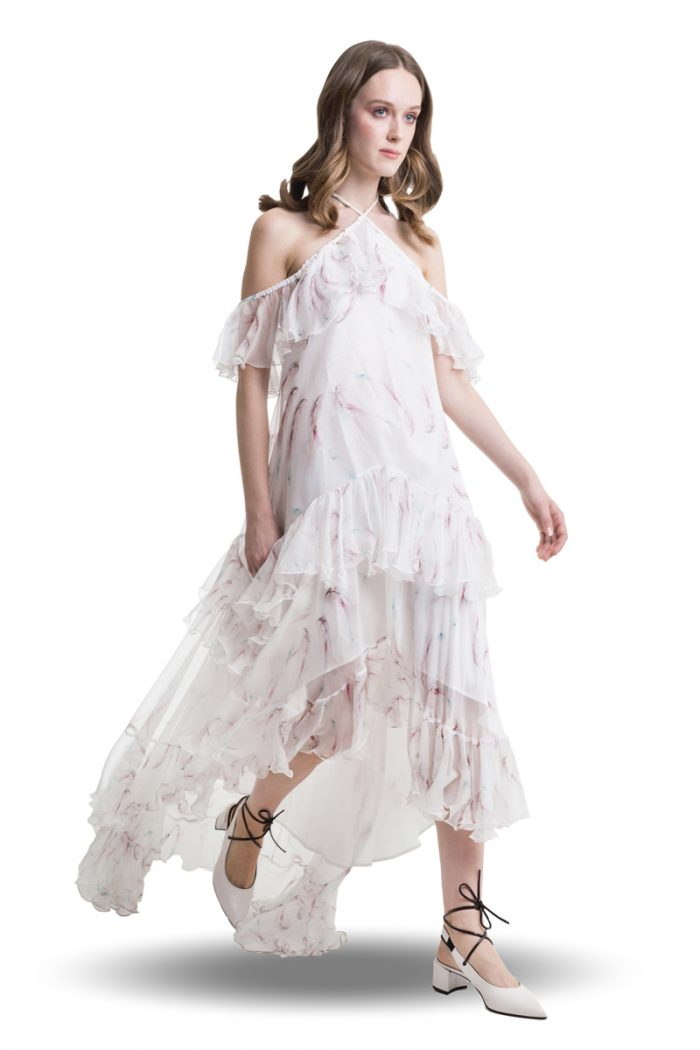 White silk cold shoulder layered dress