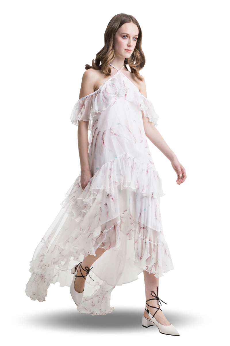 White silk cold shoulder layered dress