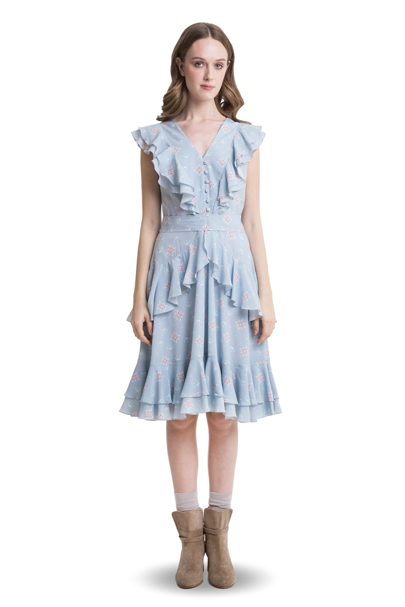 Blue layered and ruffled dress with belt