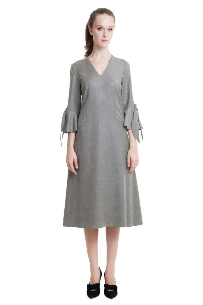 Grey stretch midi dress with bows