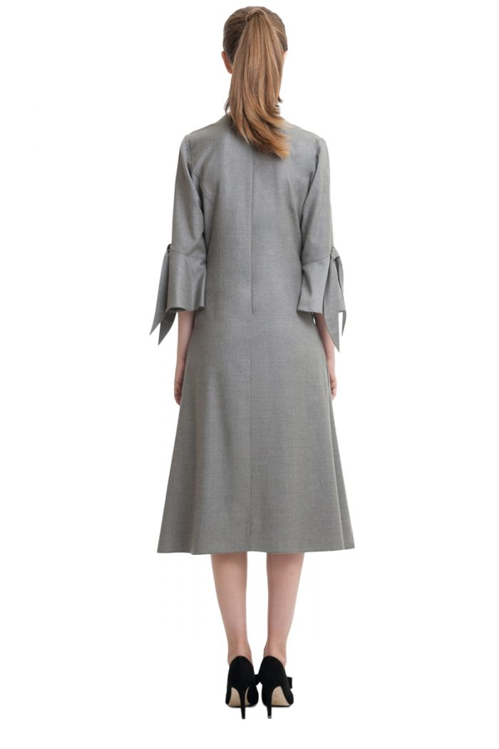 Grey stretch midi dress with bows