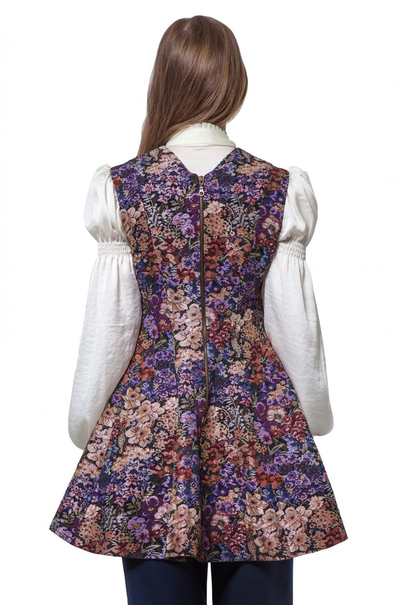 Multicoloured flowers print tunic/vest