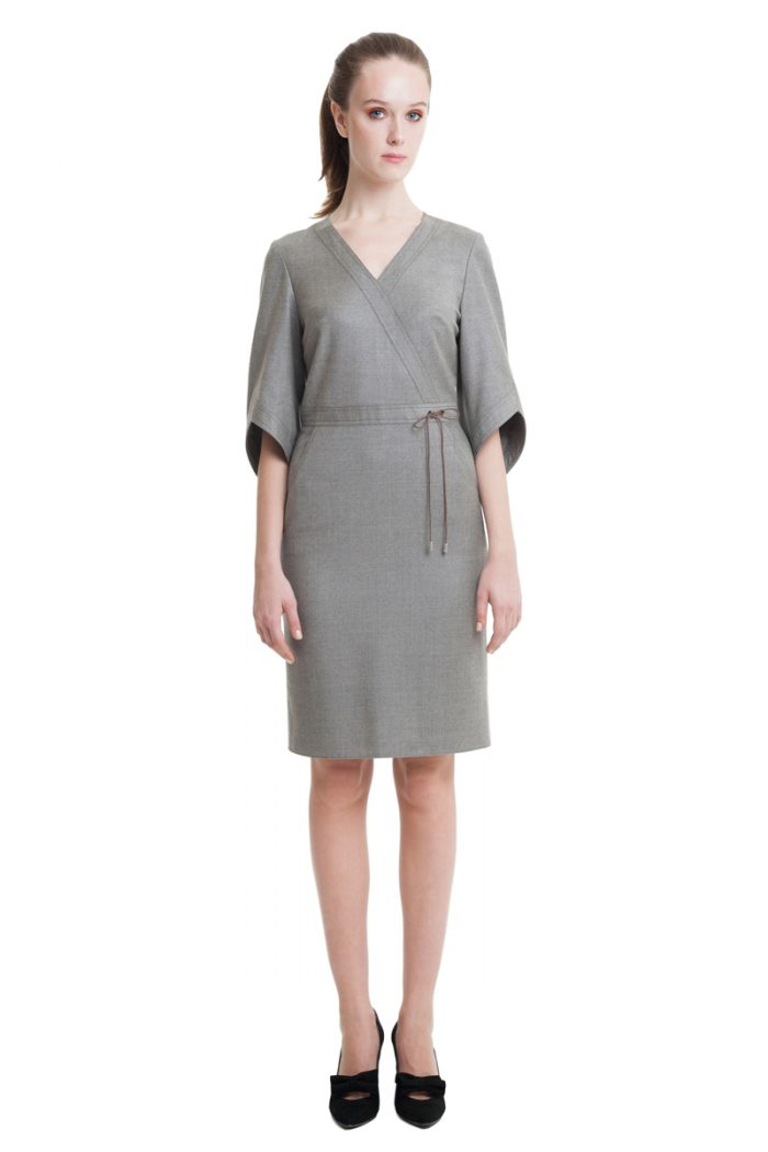 Grey midi dress with drawstrings and kimono sleeves