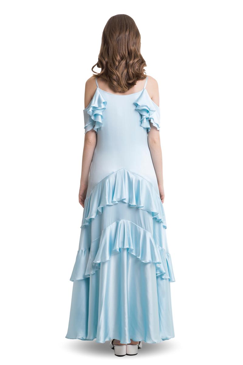 Light blue cold shoulder silk maxi dress