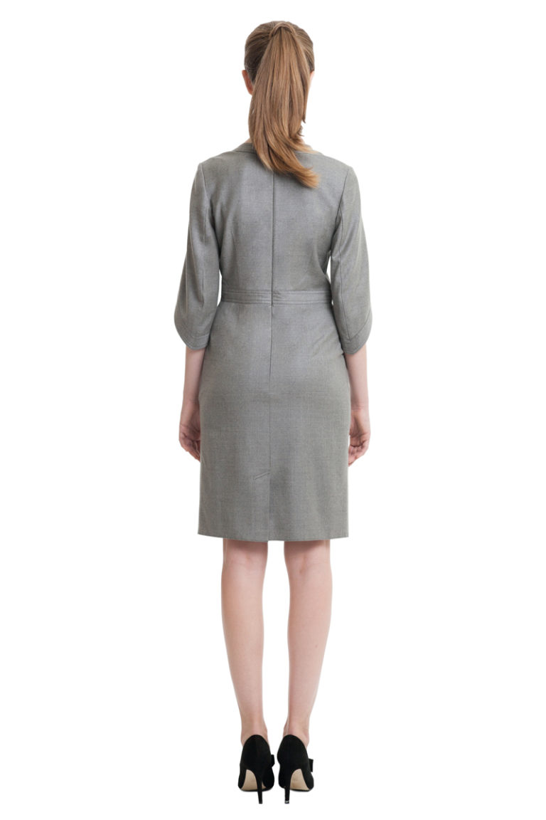 Grey midi dress with drawstrings and kimono sleeves