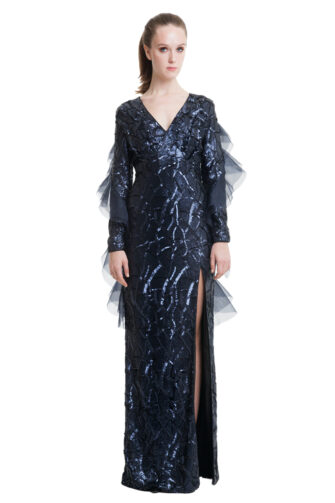 Dark blue sequin dress with organza flounces and side split