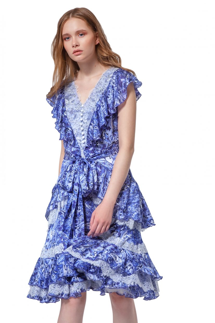 Blue silk dress with flounces and belt