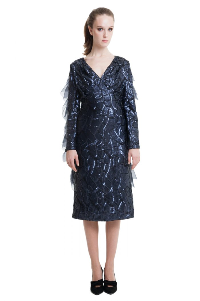 Sequin dark blue midi dress with flounces and bow