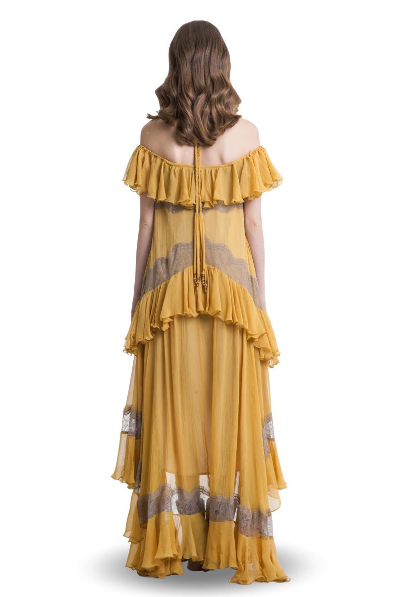 Mustard silk cold shoulder layered maxi dress