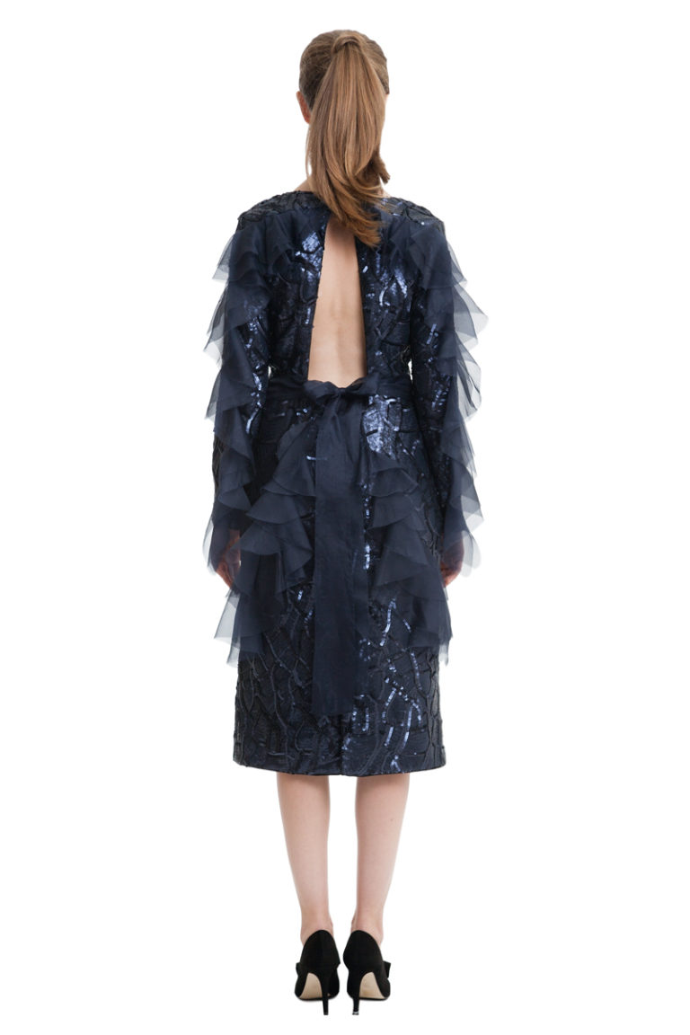 Sequin dark blue midi dress with flounces and bow