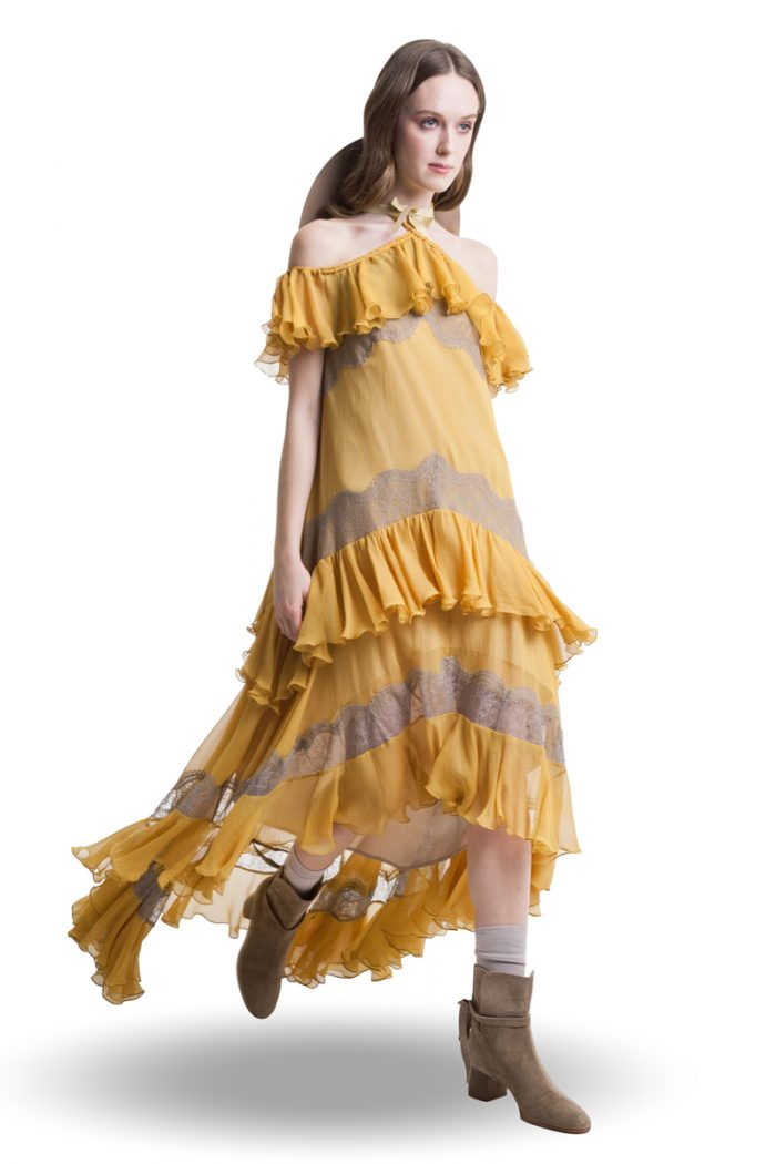 Mustard silk cold shoulder layered maxi dress