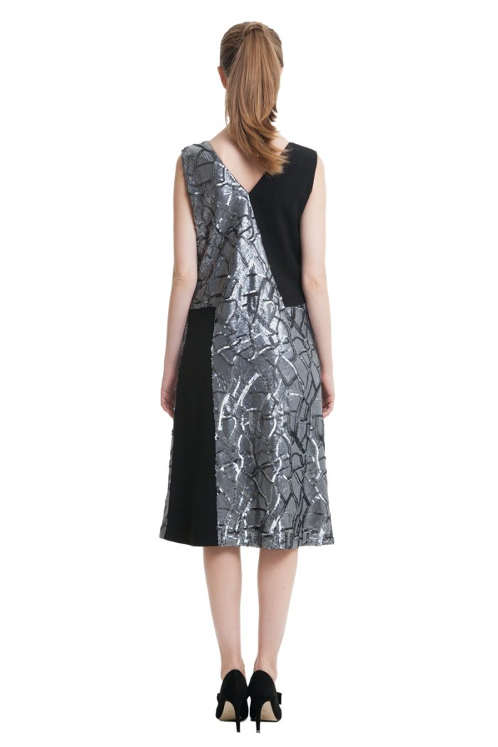 Black midi dress with silver sequins