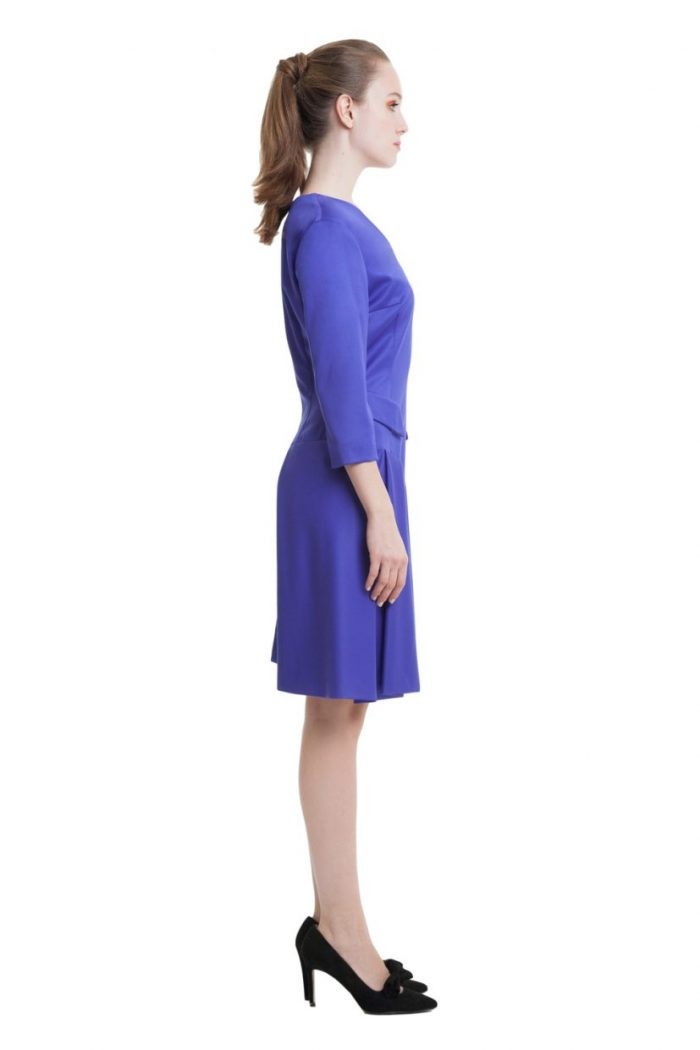 Electric blue midi dress with front folds