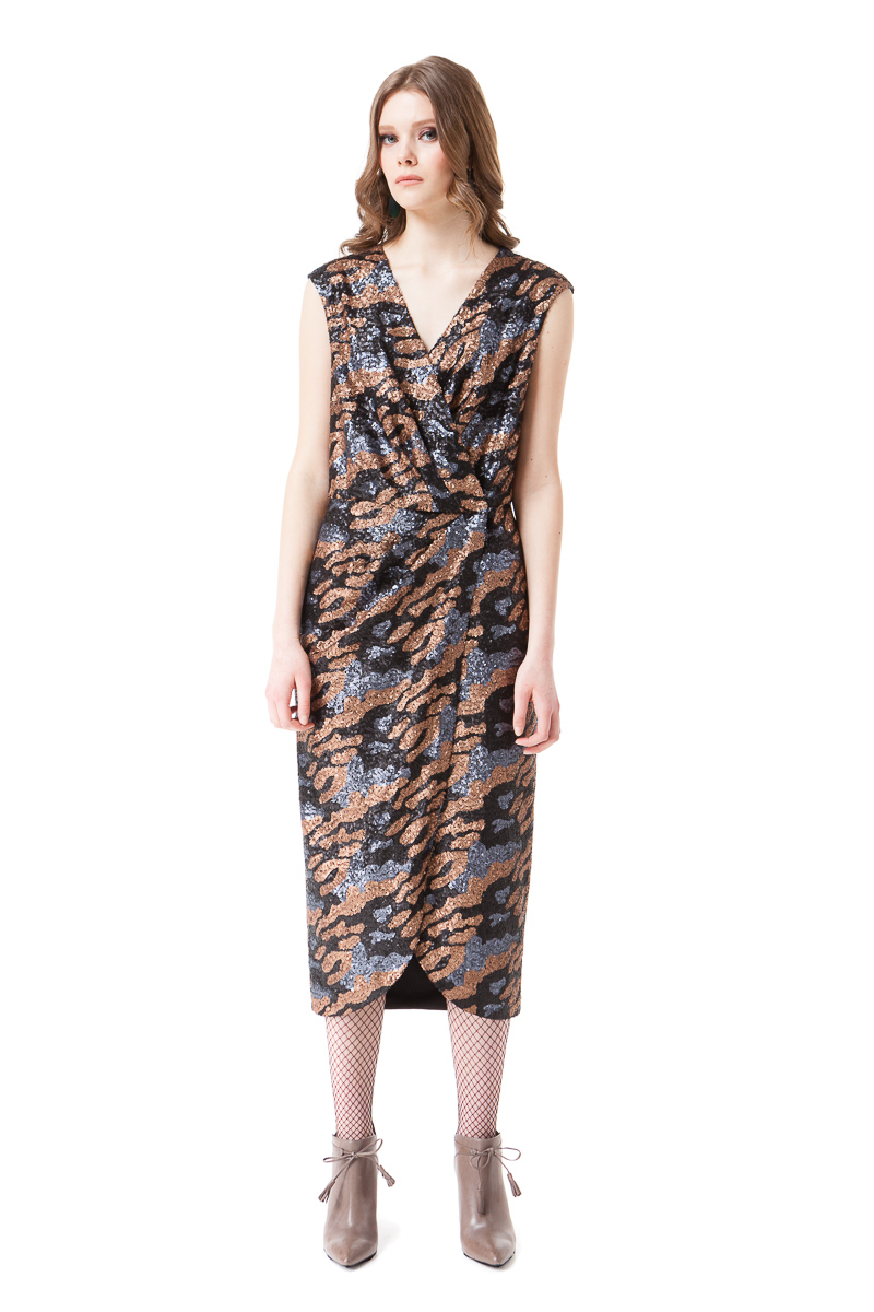 LAUREL sequin wrap dress in grey and bronze camouflage by DIANA ARNO.
