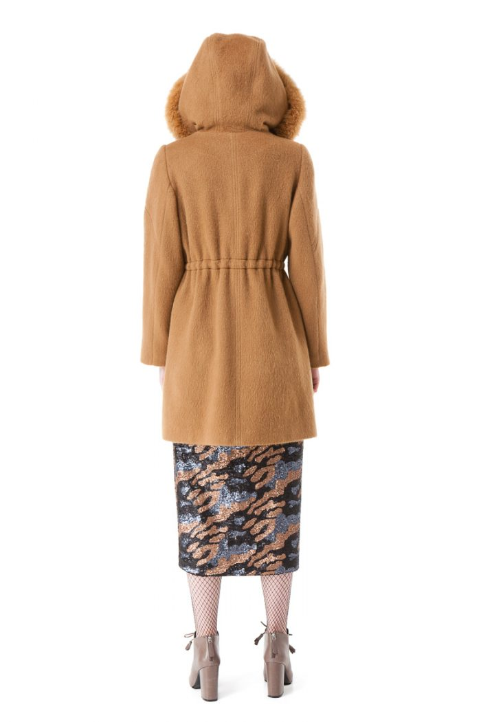 GRETA parka coat with a hood andpolar fox fur trim by DIANA ARNO.