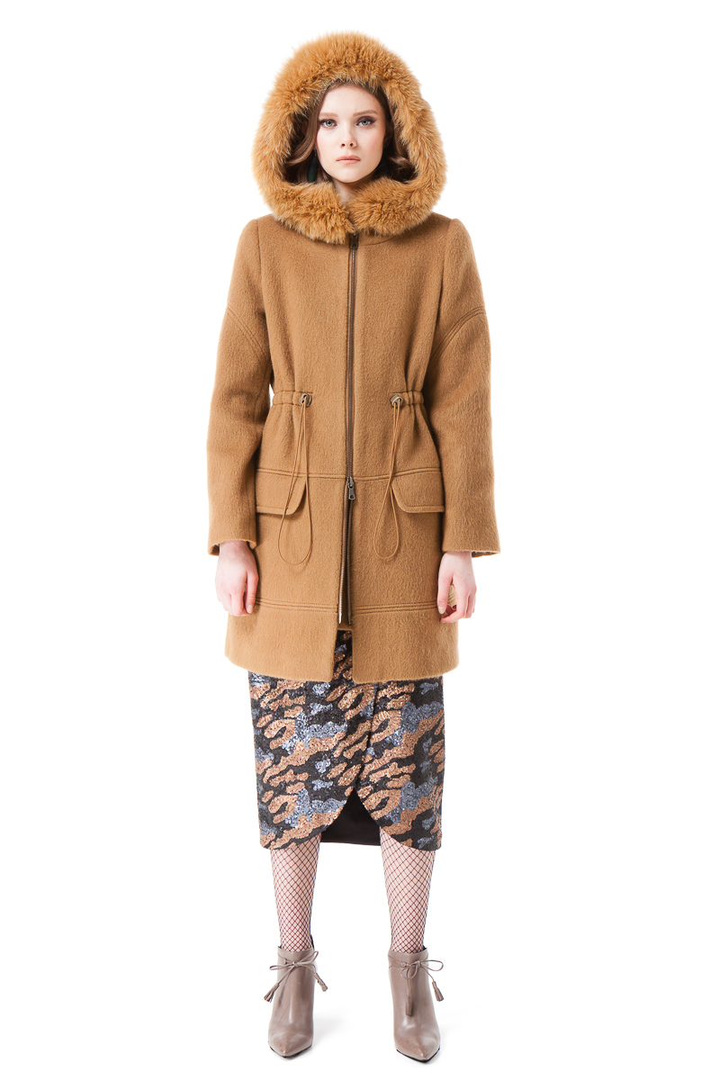 GRETA parka coat with a hood and polar fox fur trim by DIANA ARNO.