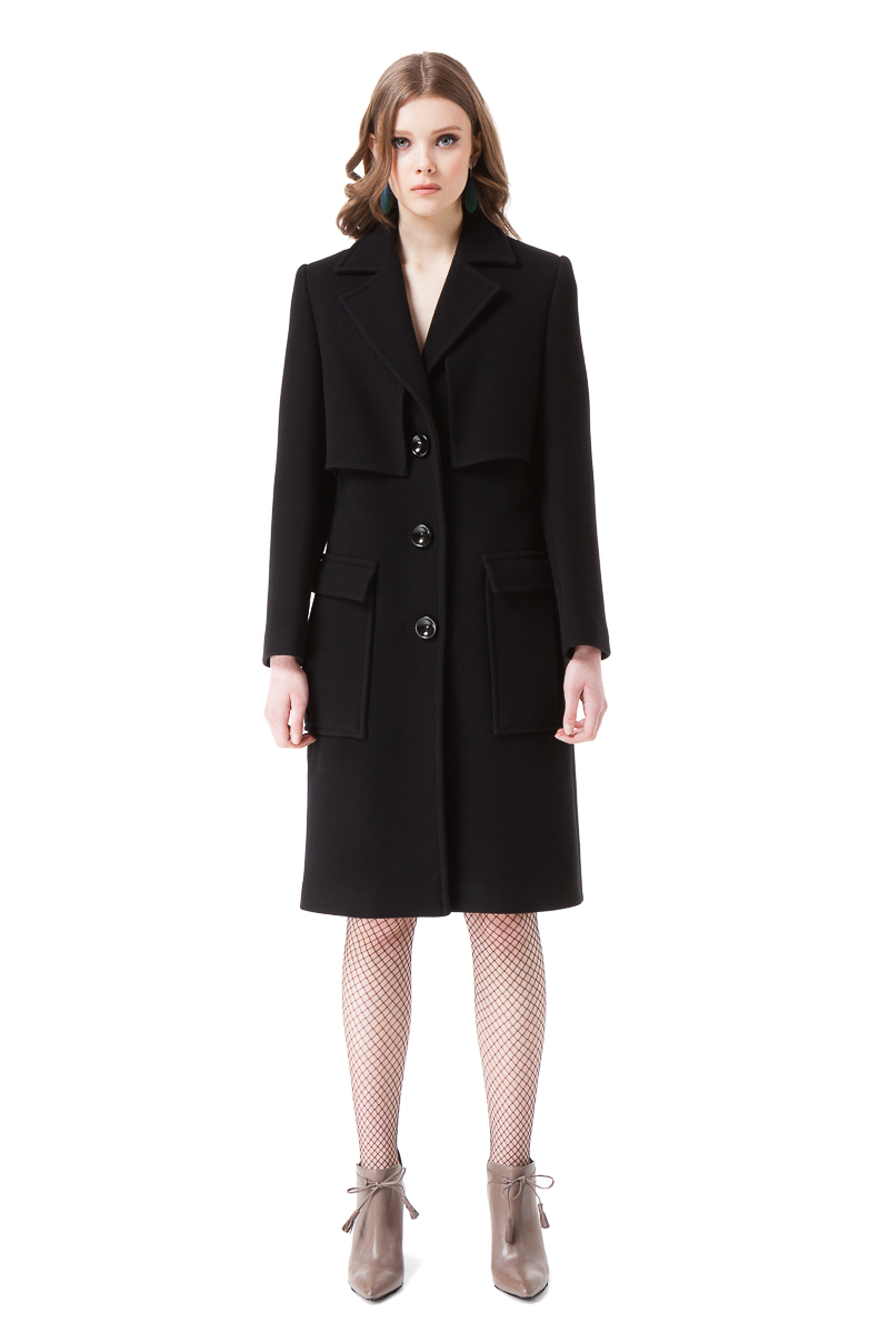 KARLIE black wool coat with utility pockets and a belt by DIANA ARNO.