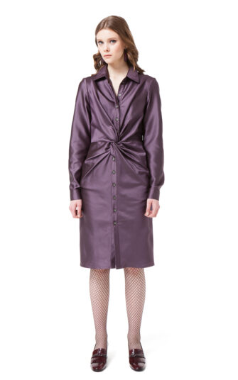 CORA shirt dress in violet mini check with button closure and draped waist by DIANA ARNO