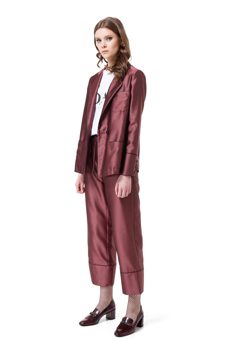 BRENNA pyjama suit in red mini check with pockets and a belt by DIANA ARNO