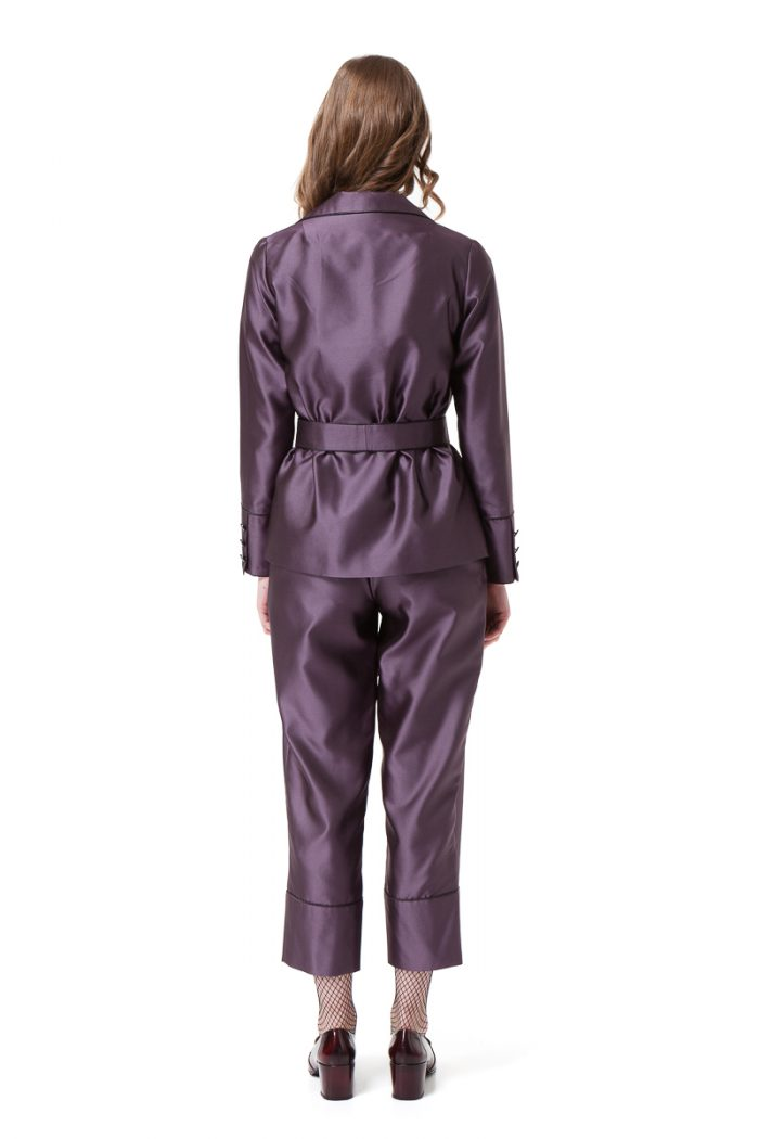 BRENNA pyjama suit in violet mini check with a belt and pockets. by DIANA ARNO