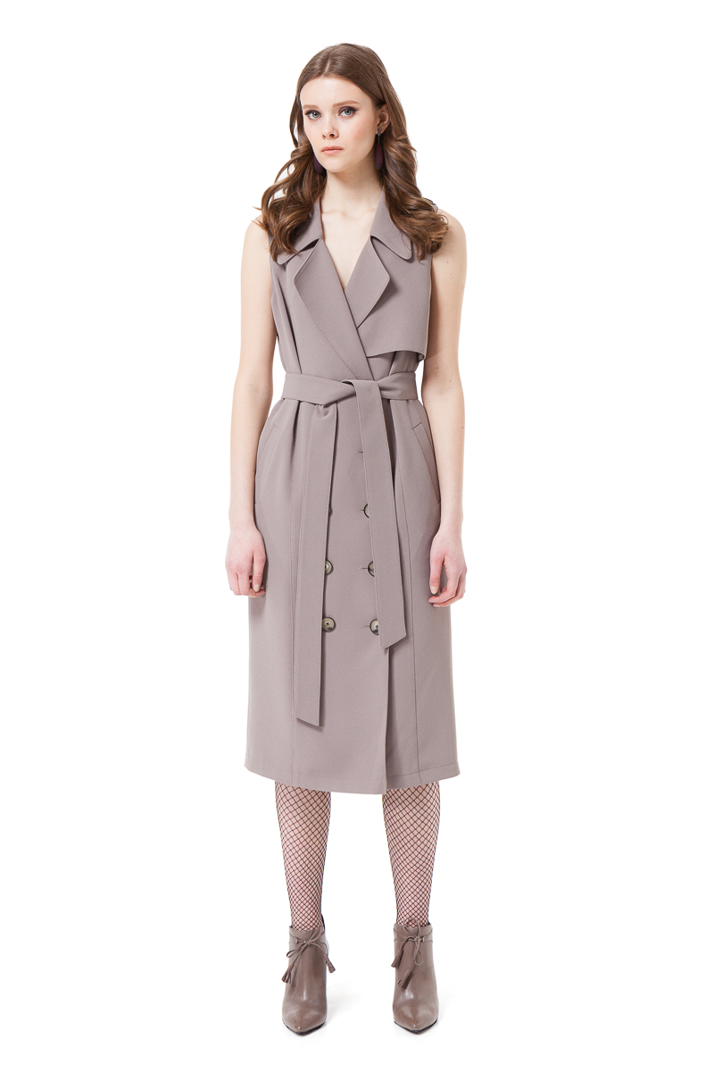 TILDA trench dress with two side pockets in taupe by DIANA ARNO.