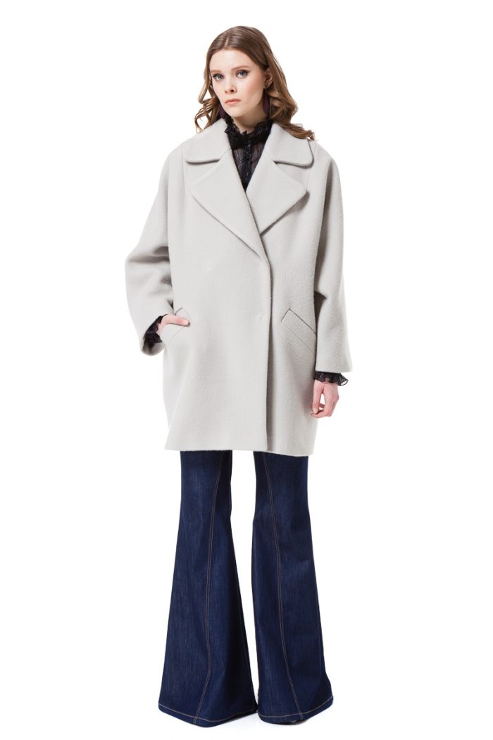 HEIDI oversized wool coat with drop shoulders by DIANA ARNO.