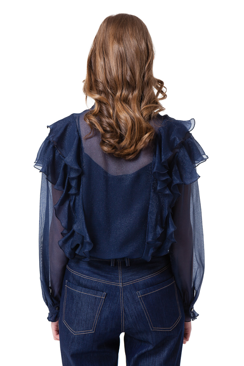 JASMIN ruffle blouse with long sleeves by DIANA ARNO.