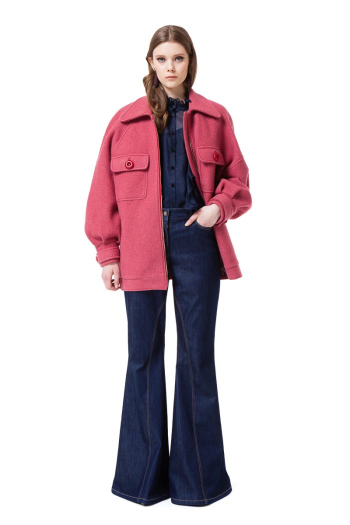 ROSIE boiled wool jacket in raspberry pink by DIANA ARNO.