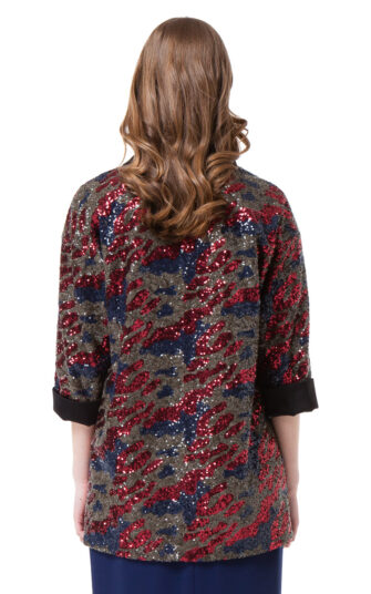 JULIE sequin jacket in red and blue camouflage by DIANA ARNO.