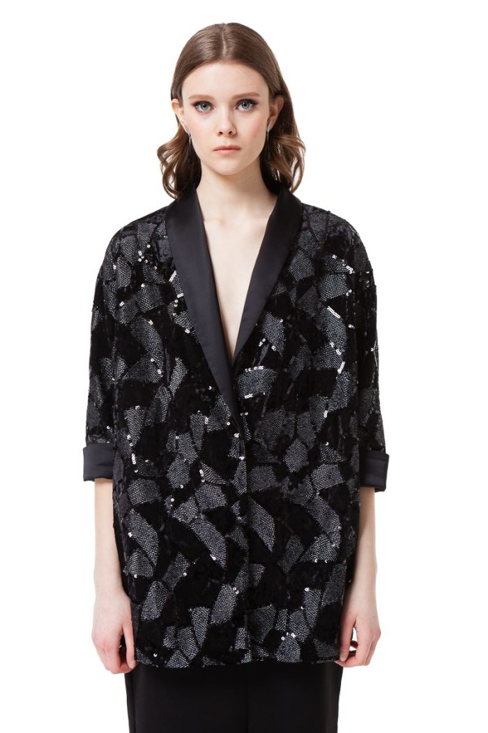 JULIE velvet jacket with sequins in black by DIANA ARNO.
