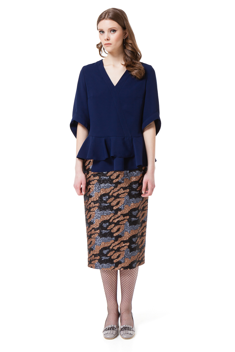 KAYLA sequin pencil skirt in grey and bronze camouflage by DIANA ARNO.