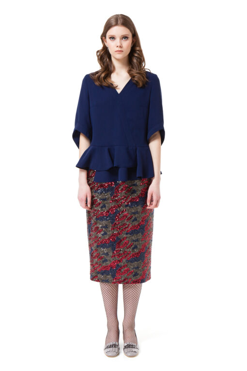 KAYLA sequin pencil skirt in red and blue camouflage by DIANA ARNO.