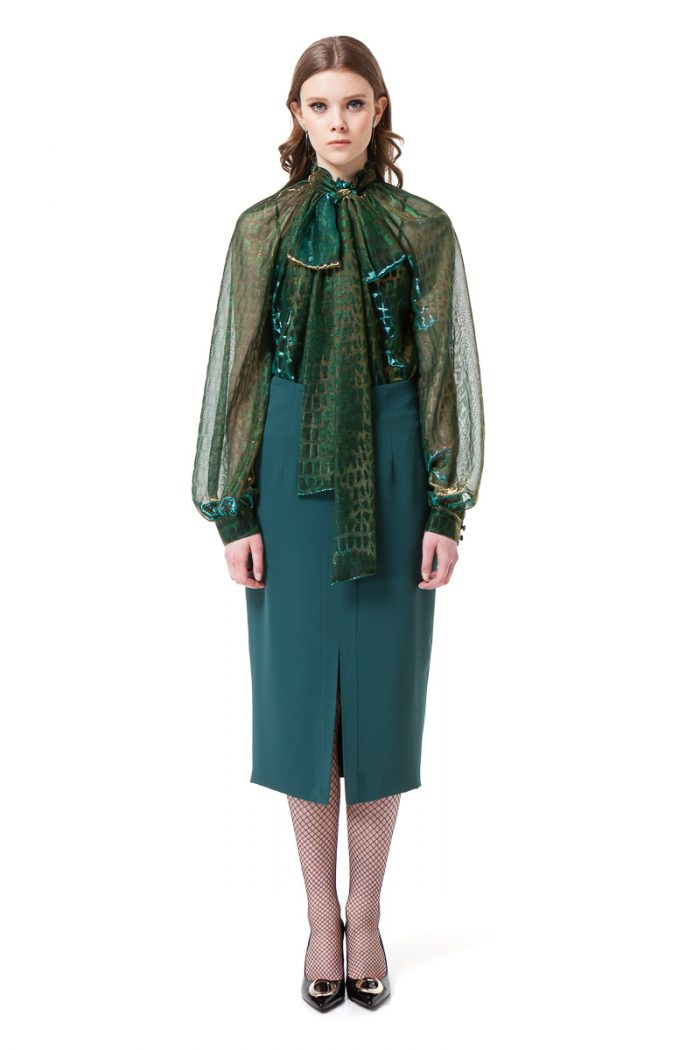 LUISA bow blouse with puff sleeves in sheer green and gold chameleon by DIANA ARNO.