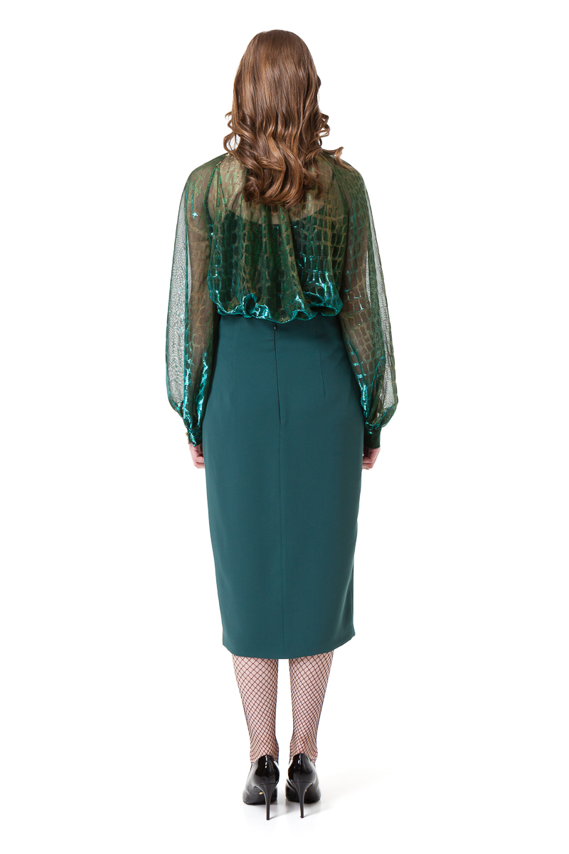 b36205f058aa7 LUISA BOW BLOUSE IN GREEN CHAMELEON - Diana Arno AW 18 19