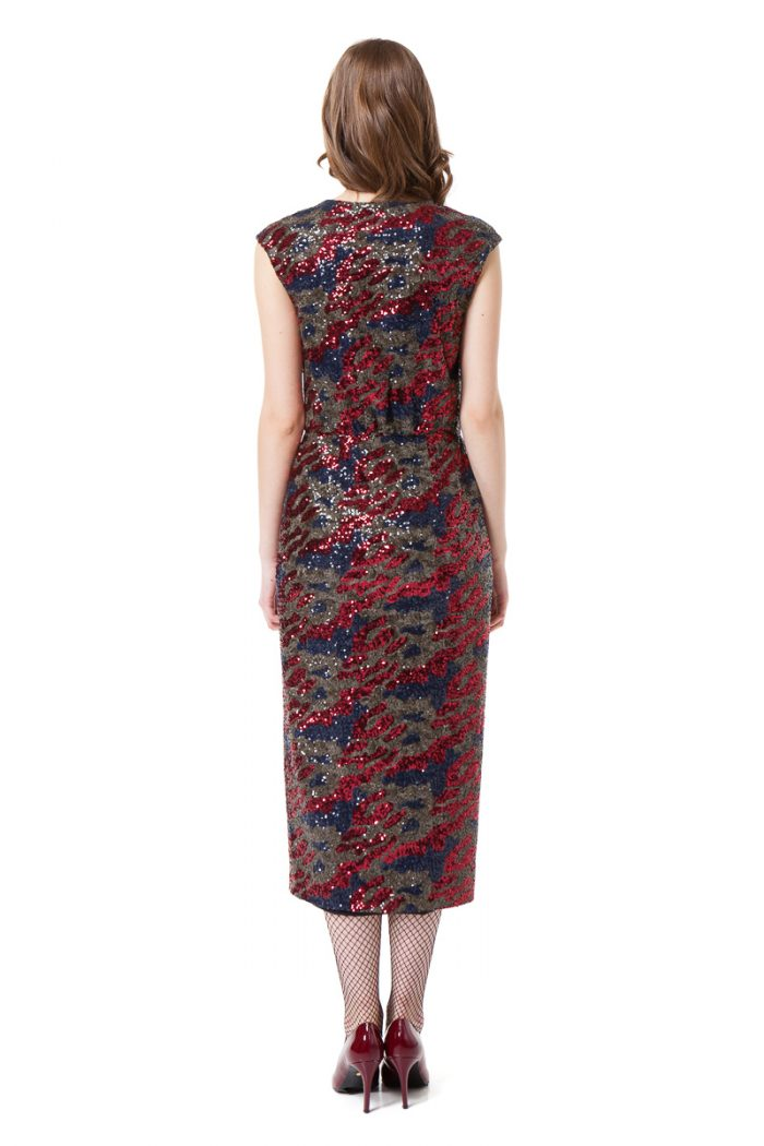 LAUREL sequin wrap dress in red and blue camouflage by DIANA ARNO.