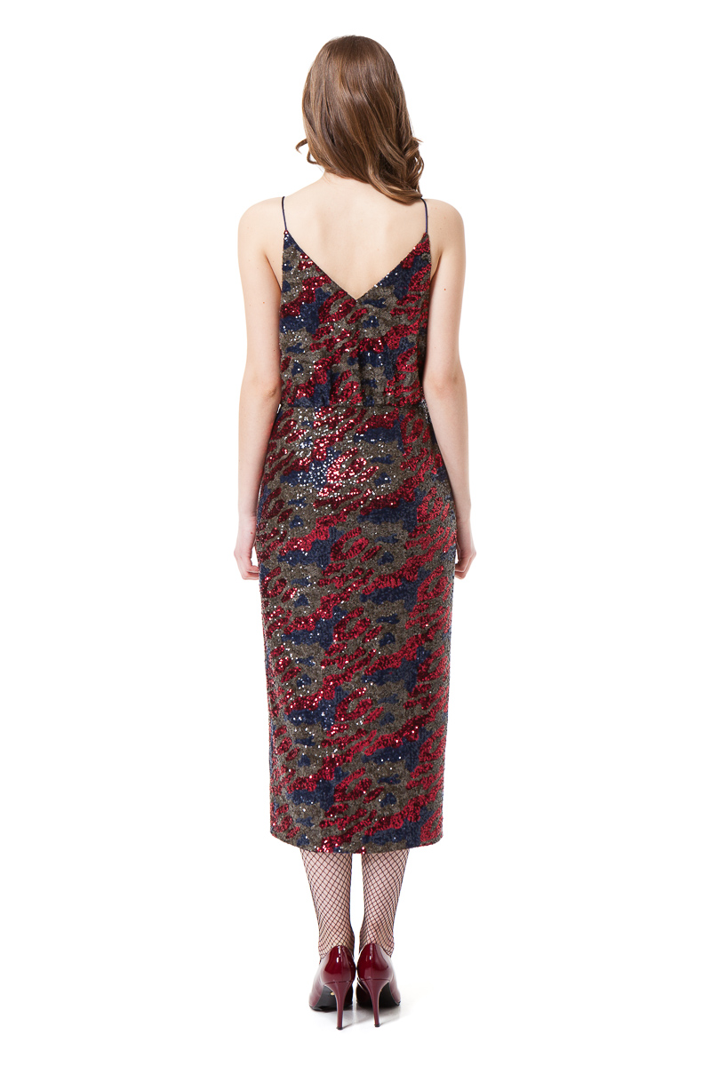 CARINA sequin midi dress in red and blue camouflage by DIANA ARNO.