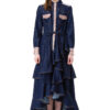CECILE denim dress with long sleeves, ruffles and lurex details by DIANA ARNO.