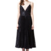 MAIA pleated midi dress in midnight black by DIANA ARNO.