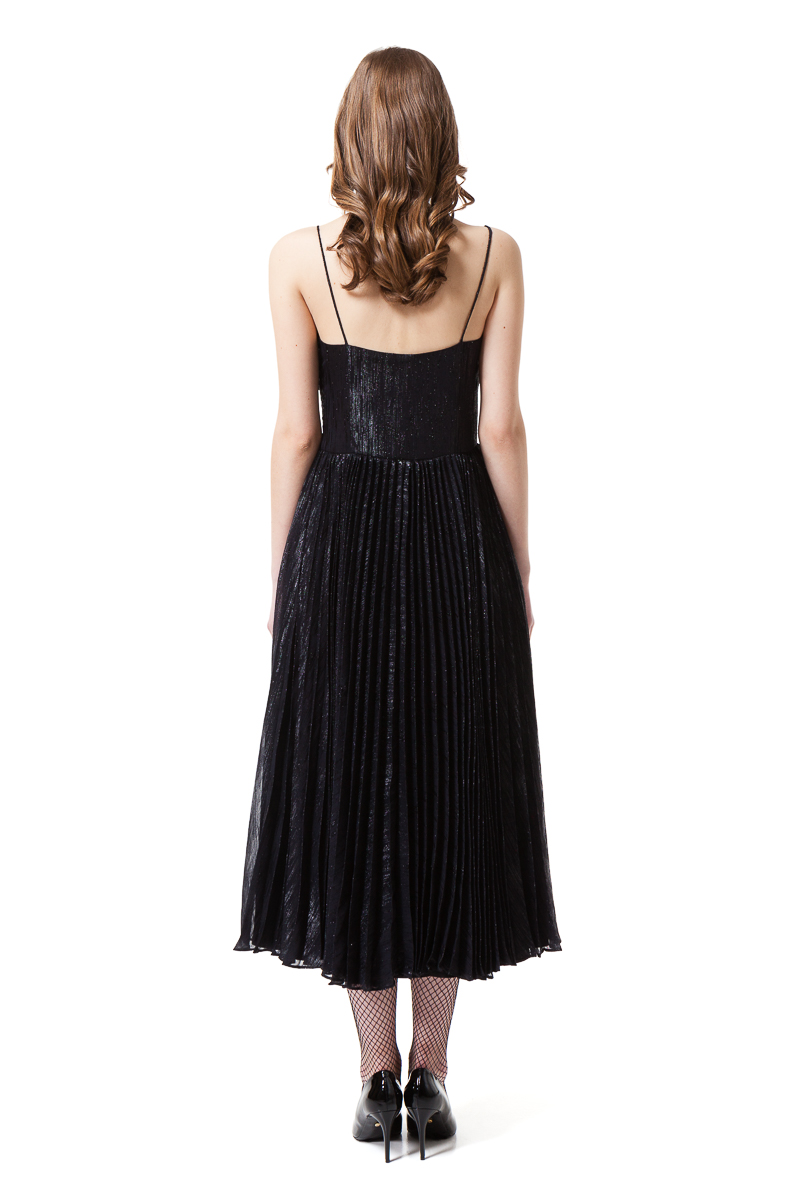 MAIA pleated midi dress in midnight black by DIANA ARNO.