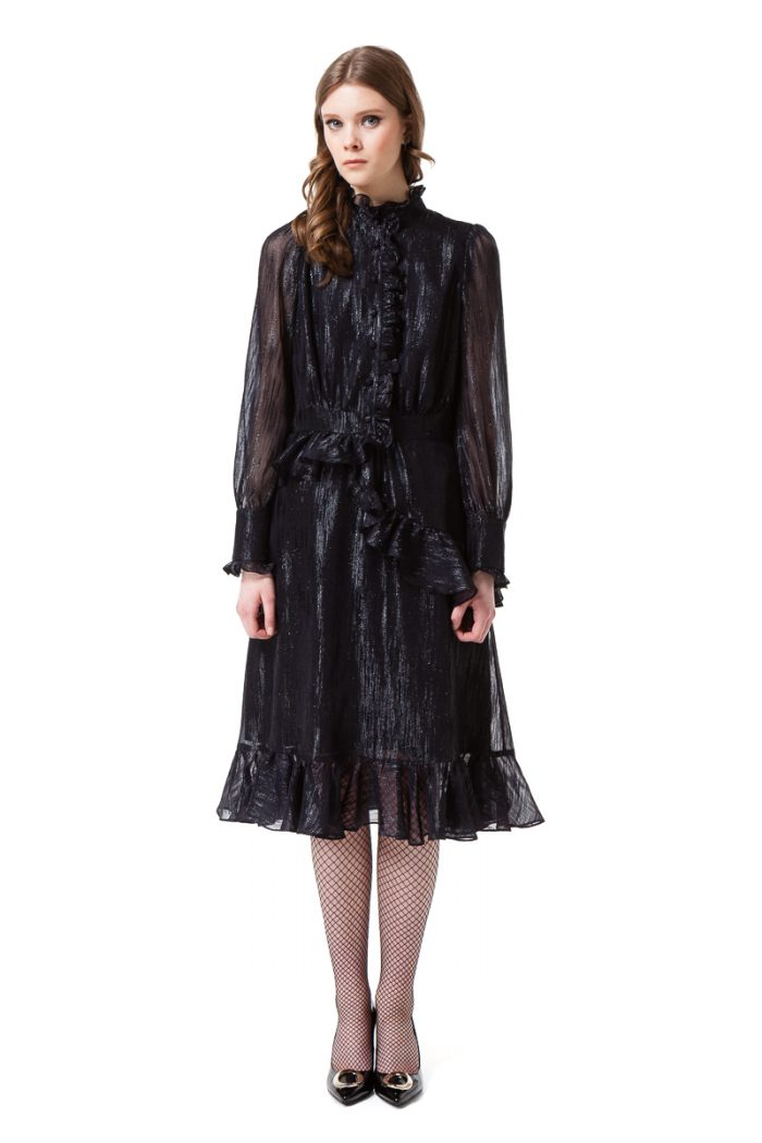 EDEN long sleeve dress in midnight black by DIANA ARNO.