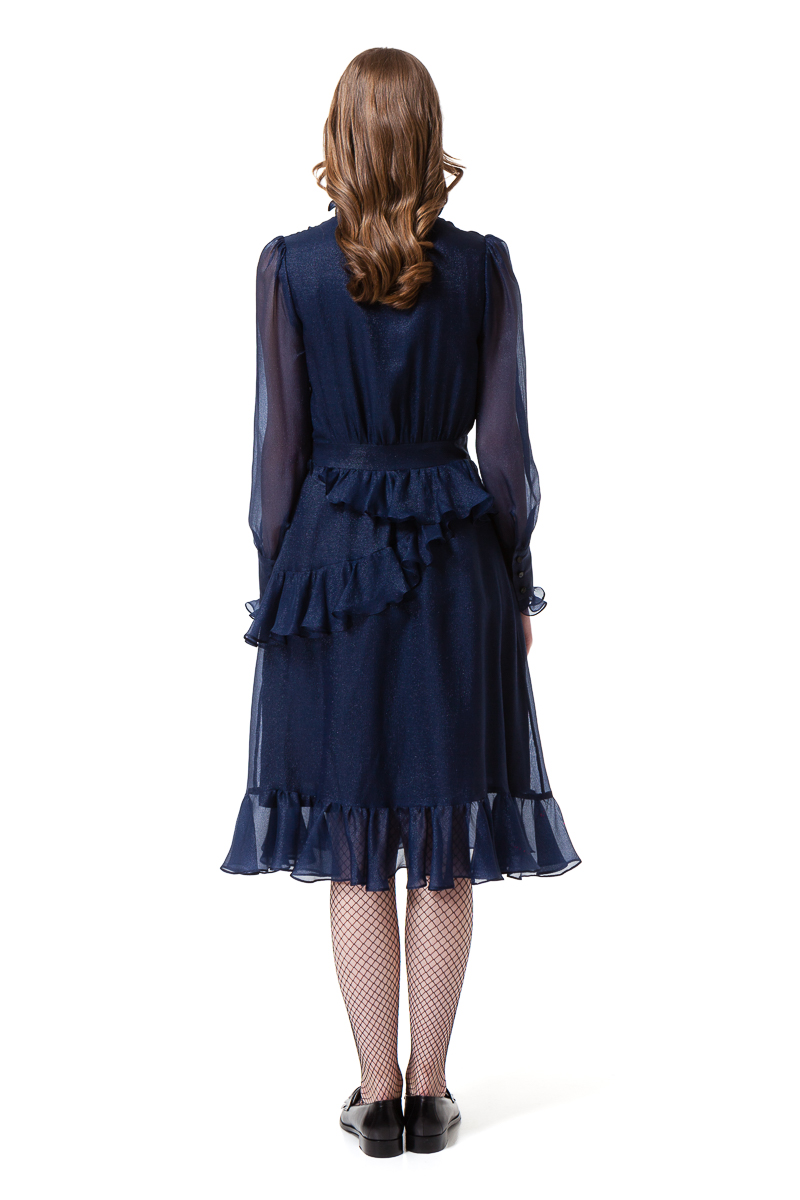 EDEN long sleeve dress in midnight blue by DIANA ARNO.