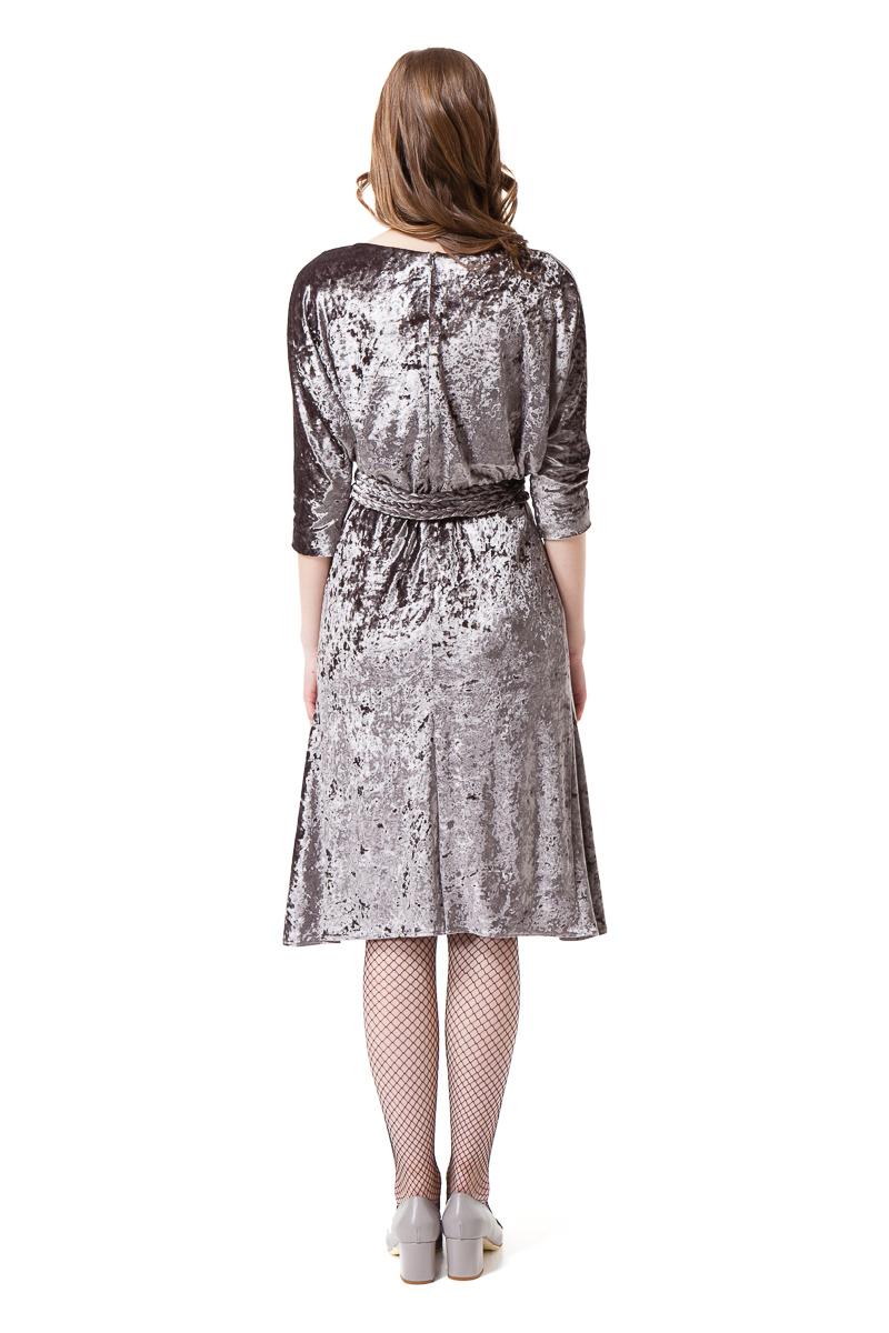 VIVIAN velvet midi dress withdrop shoulders and flared hem by DIANA ARNO.