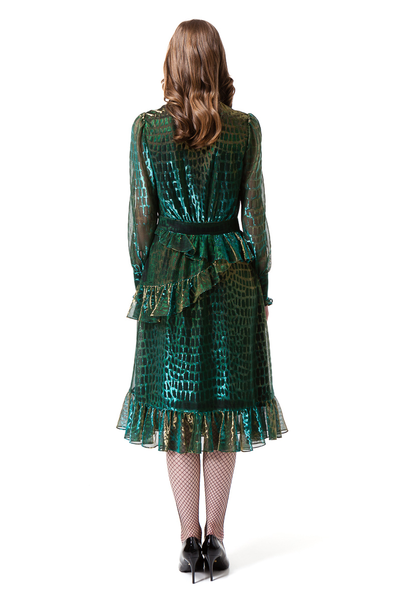 EDEN cocktail dress in chameleon green by DIANA ARNO.