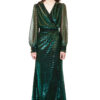 EMILIA wrap maxi dress in green and gold chameleon with long sheer sleeves, draped top and snap fasteners by DIANA ARNO.
