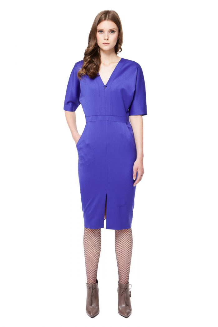 HEATHER bat sleeve dress in violet blue with 3/4 sleeves and V-neckline by DIANA ARNO.