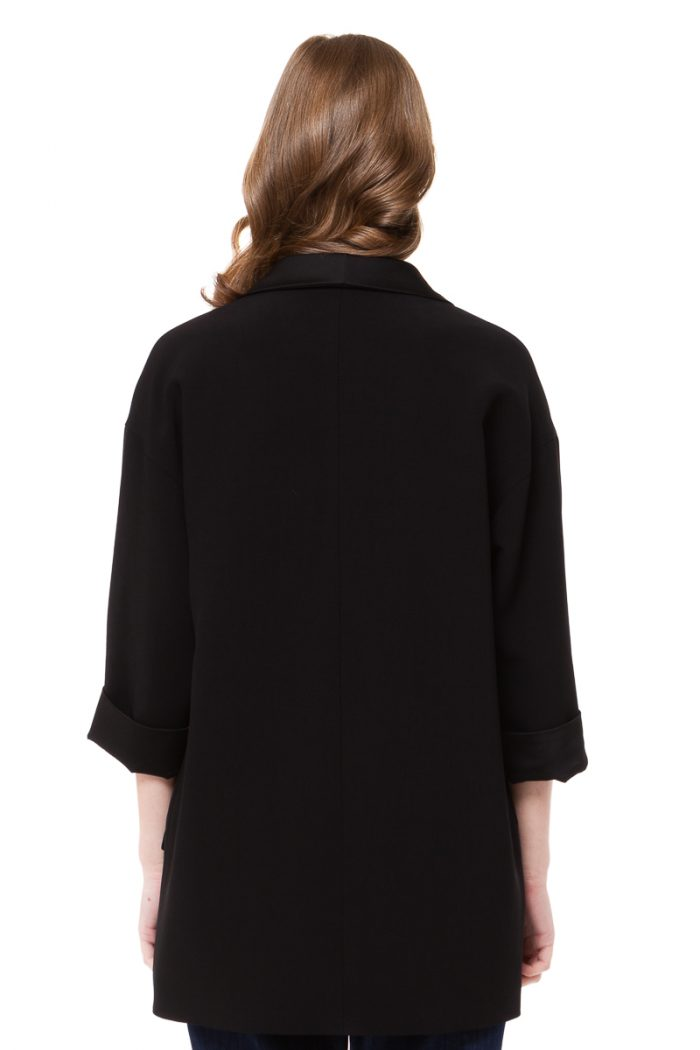 JULIE oversized blazer with satin shaw lapels by DIANA ARNO.