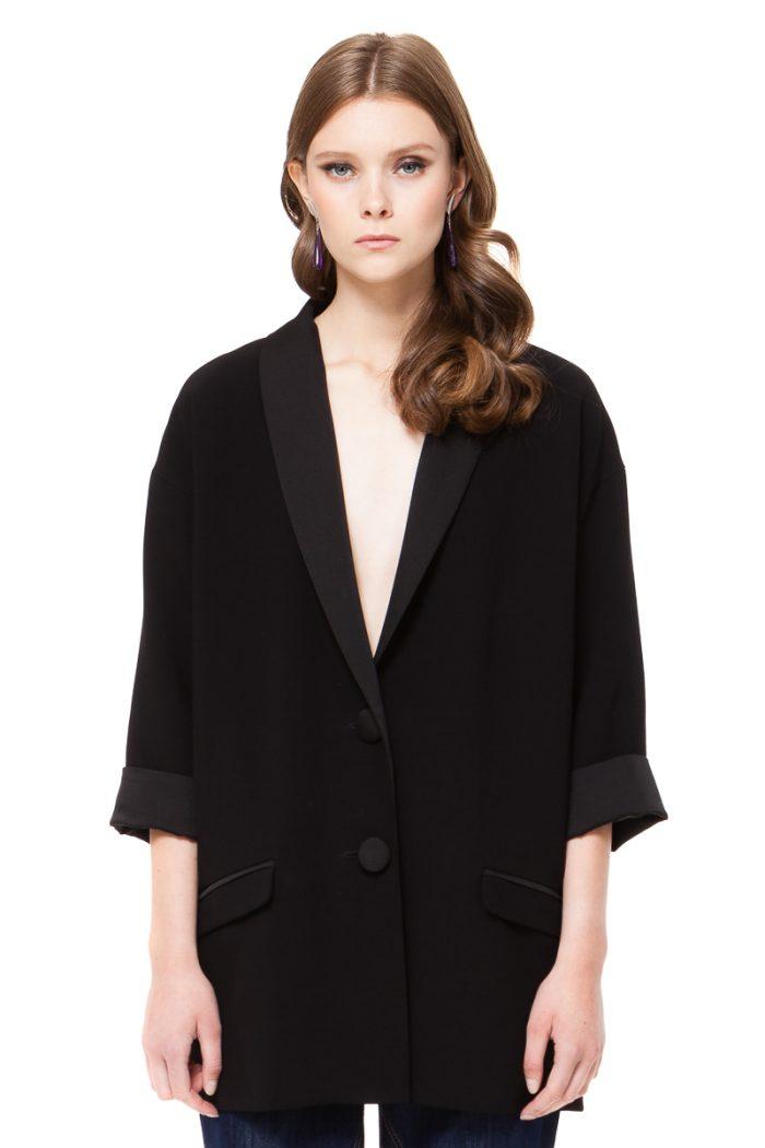 JULIE oversized blazer with satin shaw lapels by DIANA ARNO.