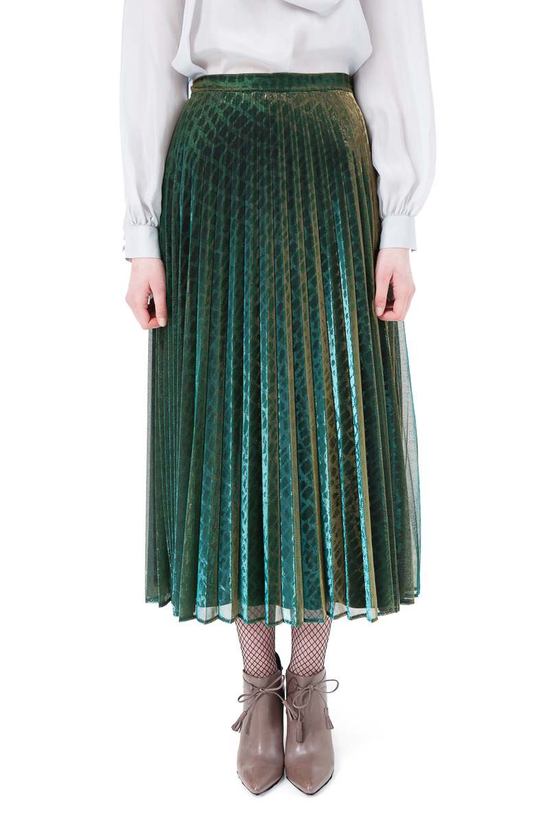 LOLA pleated midi skirt in green and gold chameleon by DIANA ARNO.
